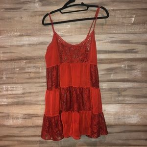 Forever 21 RED LACE SLIP! Sheer mixed with lace!